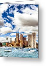 Classic Boston Skyline From The Water Greeting Card