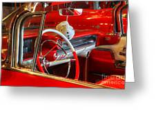 Classic Cadillac Beauty In Red Greeting Card