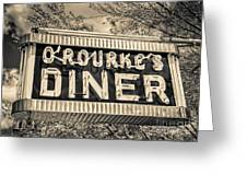 Classic Diner Neon Sign Middletown Connecticut Greeting Card