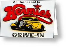 Classic Drive In Sign Greeting Card