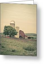 Classic Farm With Red Barn And Silos Greeting Card