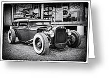 Classic Hot Rod In Black And White Greeting Card