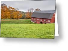 Classic New England Fall Farm Scene Greeting Card