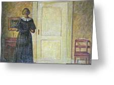 classic oil painting art-The back of the girl #16-2-1-04 Greeting Card