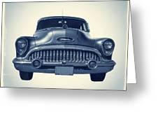 Classic Old Car On Vintage Background Greeting Card