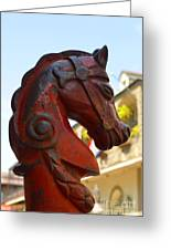 Classic Red Horsehead Post Greeting Card