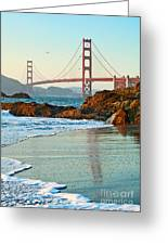 Classic - World Famous Golden Gate Bridge With A Scenic Beach And Birds. Greeting Card