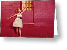 Classy Diva Standing In Front Of Pink Brick Wall  Greeting Card