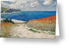 Claude Monet's Path In The Wheat Fields At Pourville-1882 Greeting Card