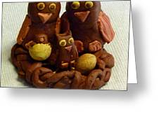 Clay Owl Family Greeting Card