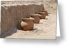 Clay Pots At Huaca Pucllana In Lima Peru Greeting Card