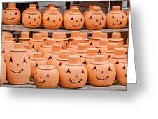 Clay Pumpkins Standing Happy Near The Wood Fence Greeting Card