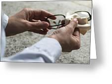 Cleaning Her Eyeglasses Greeting Card