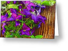 Clematis On The Fence-2014 Greeting Card