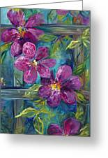 Clematis Turquoise Garden Greeting Card