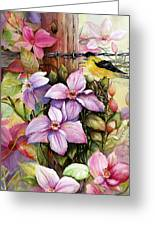 Clematis Vine And Goldfinch Greeting Card