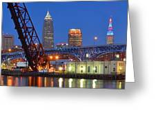 Cleveland Blue Hour Panoramic Greeting Card