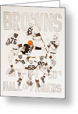 Cleveland Browns 40's To 50's Hall Of Famers Greeting Card by Joe Lisowski