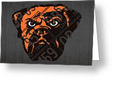 Cleveland Browns Football Team Retro Logo Ohio License Plate Art Greeting Card