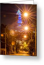 Cleveland Downtown Street View At Night Greeting Card