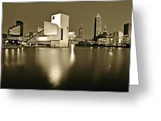 Cleveland In Sepia Greeting Card