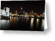 Cleveland Lakefront Nightscape Greeting Card