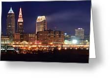 Cleveland Panoramic Night Greeting Card