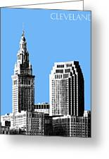 Cleveland Skyline 1 - Light Blue Greeting Card by DB Artist