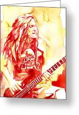 Cliff Burton Playing Bass Guitar Portrait.1 Greeting Card
