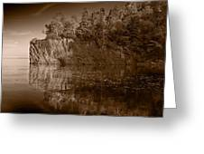 Cliff Face Northshore Mn Bw Greeting Card