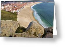 Cliff Of The Seaside Village Of Nazare Greeting Card