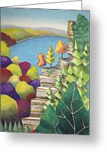 Cliff Overlooking Lake With Colorful Trees Greeting Card