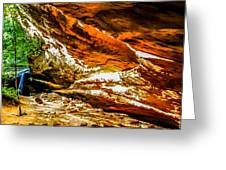 Cliff Rocks And Waterfall Greeting Card
