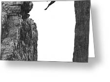 Climber Crossing On A Rope Greeting Card by Underwood Archives