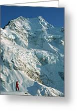 Climber Enjoying View Of Mt Cook Greeting Card