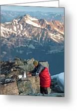 Climber Lights His Ultralight Stove Greeting Card