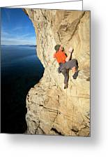 Climber Reaches For Hand Hold Greeting Card