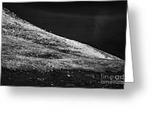 climbers climbing ridge on Errigal mountain donegals highest peak against a blue sky between dunlewey and gweedore Donegal Republic of Ireland Greeting Card