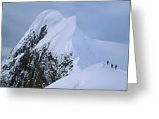Climbers On Summit Ridge Of Mt Scott Greeting Card