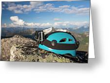 Climbing Helmet With Camera On Mountain Greeting Card