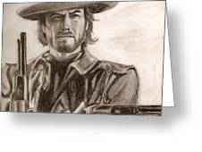 Clint Eastwood Greeting Card by Michael Mestas