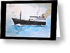 Clipper Epic Longline Fishing Boat Nautical Chart Map Art Greeting Card
