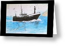 Clipper Express Longline Fishing Boat Nautical Chart Map Art Greeting Card
