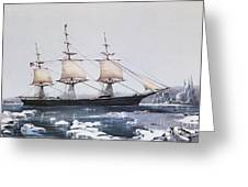 Clipper Ship Red Jacket In The Ice Off Cape Horn On Her Passage From Australia To Liverpool Greeting Card