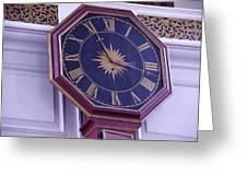Clock In An Old Church Greeting Card
