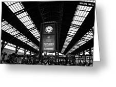 clock in Santiago central railway station Chile Greeting Card