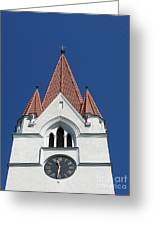 Clock Tower. Evangelic Lutheran Church. Silute. Lithuania. Greeting Card