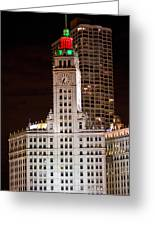 Clock Tower In Chicago  Greeting Card