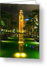 Clock Tower Of Old Kowloon Station Greeting Card by Hisao Mogi