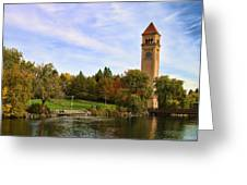 Clocktower And Autumn Colors Greeting Card